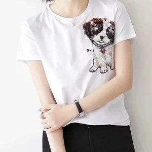 Final Price Sequined Puppy Tshirt 100% Cotton